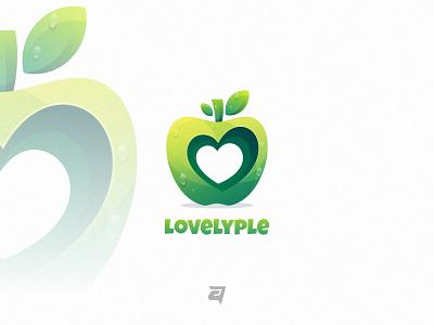 Lovelyple creative fruit graphic technology branding gradient colorful illustration vector logo modern design