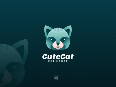 Cute Cat cat graphic animal creative branding gradient colorful illustration vector logo modern design