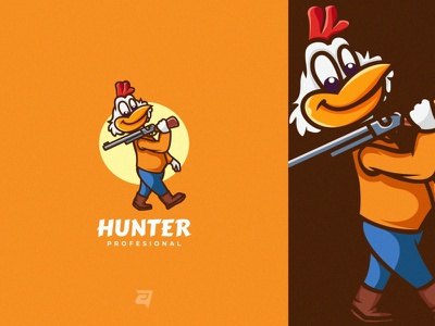 Hunter creative animal rooster hunter character cartoon mascot branding illustration vector logo modern design