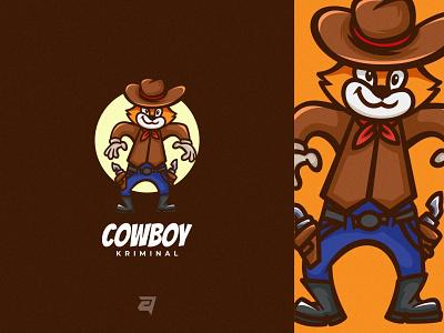 Cowboy technology character cartoon mascot animal creative branding illustration logo vector modern design