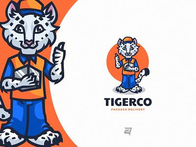 Tiger technology bramding tiger character cartoon animal creative branding illustration vector logo modern design