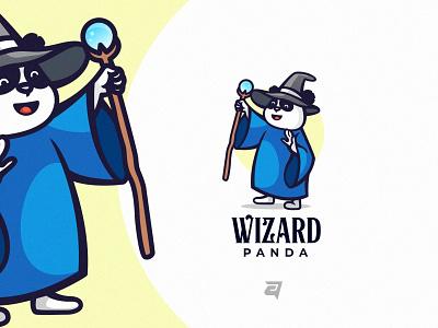 Wizard graphic design graphic mascot wizard panda character cartoon creative branding illustration vector logo modern design