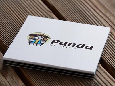 Panda simple branding graphic design graphic technology cartoon mascot illustration logo vector modern design