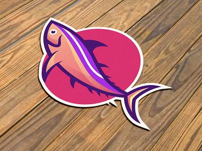 Fish fish animal sticker template graphic design graphic technology branding gradient colorful illustration logo vector modern design