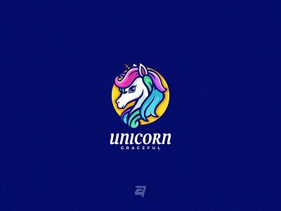 Unicorn character cartoon graphic design mythology animal simple mascot head unicorn branding colorful illustration vector logo modern design