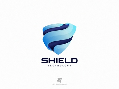 Shield logo inspiration logo awesome creative shield shape graphic design simple technology branding gradient colorful illustration vector logo modern design