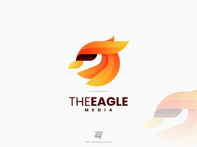 Eagle logo inspiration logo awesome graphic design creative media eagle bird technology simple branding gradient colorful illustration vector logo modern design