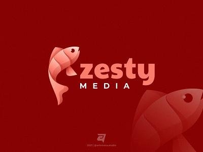 Zesty artnivorastudio logo inspiration logo awesome graphic design creative zesty media fish color technology branding gradient colorful illustration vector logo modern design