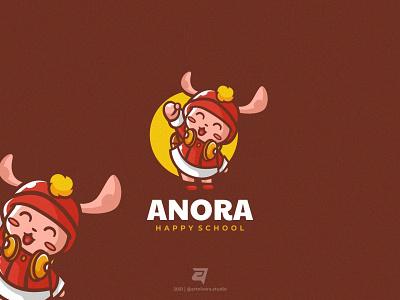 ANORA artnivorastudio logo inspiration logo awesome creative cute cheerful school happy rabbit bunny character cartoon mascot simple graphic design branding illustration vector logo modern design