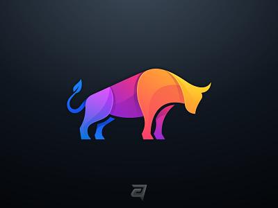 Bull Colorful icon vector debut origami gradient modern technology internet branding brand animal bull colorful design logo illustration