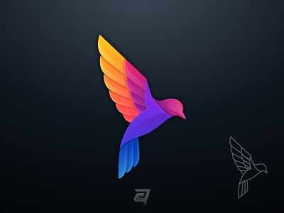 Bird Fly Colorful illustration technology internet origami vector design logo modern awesome gradient animal colorful