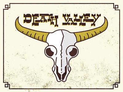 Death Valley Buffalo Skull death valley illustration flat buffalo skull