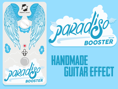 Paradiso - Booster Guitar Effect Pedal illustration guitar rock pedal flat typography crack handmade booster vector
