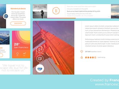 Freebie SKETCH: Flat Travel Blog UI Kit sketch widget ui kit ui kit interface freebie free flat design flat clean blog