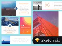 Freebie SKETCH: Flat Travel Blog UI Kit