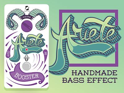 Ariete- Booster Bass Effect Pedal vector typography rock pedal illustration handmade guitar bass booster