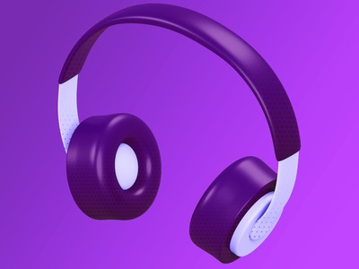 3D Headphones Illustration blender 3d lighting soft halftone black purple minimalistic headphones bundle artwork user interface blender kit 3d ui illustration design