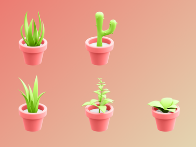 3D Plant Illustrations app kit blender 3d ui illustration design