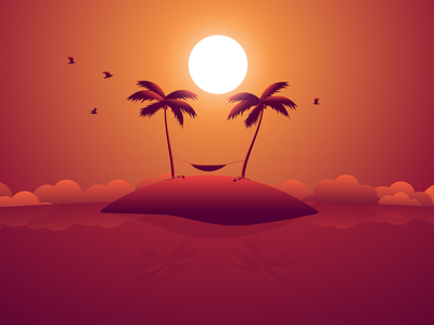 Coconut man sleeping paradise summer palm hammock birds design illustrator clouds ocean vector illustraion palms sunset