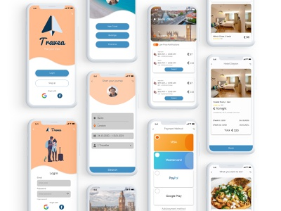 Travel Planning App journey visa payment food adobe illustrator adobe xd photoshop adobe design ui ux mobile reserve hotel activity flight booking travel app
