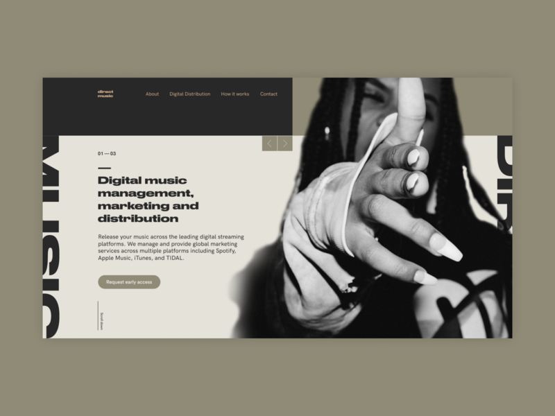 Direct.Music desktop ui minimalism grid clear ux minimal