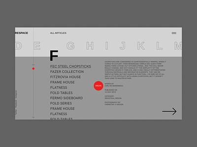 Respace - Articles clean grid clear minimalism ui design web design webdesign desktop minimal
