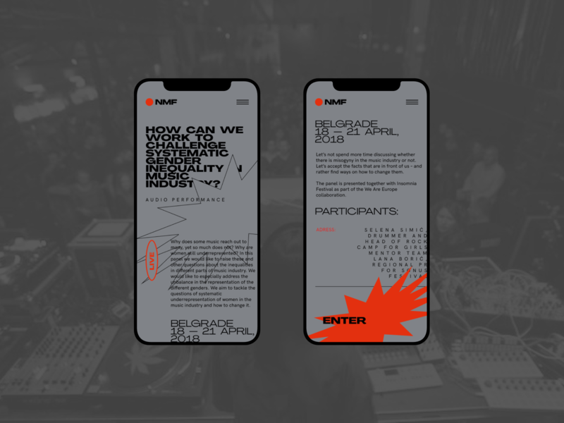 NMF - Festival festival mobile website clear design desktop clean grid design component ui ui typography promo page minimalism minimal interface information brutalist article