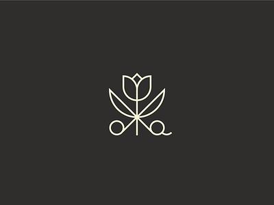 Hair Stylist Mark 2 minimal flower logo logo mark stylist haircut flower scissors