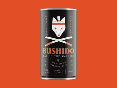 Bushido Can japanese bushido packaging sake fox