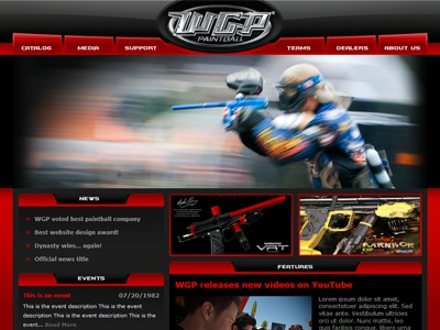 Worr Games Paintball paintball red black theme website