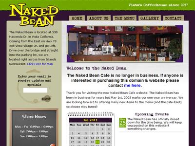 Naked Bean Cafe website coffee shop website theme design