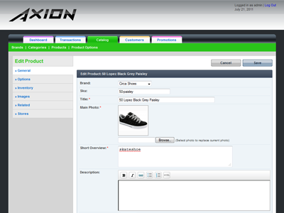 Axion Old Interface admin interface ecommerce backend theme design app application