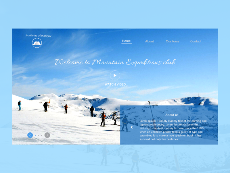 Exploring himalayas expeditions himalayas moutains webdesign ui mockup design uidesign