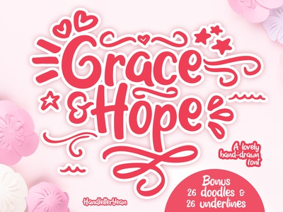 Grace & Hope - hand-drawn font craftwork cricut silhouette craft underlines doodles display typeface logo branding illustration typeface display design handwritten typography font