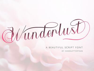 Wunderlust artwork typeface branding typography illustration script font design font family font design