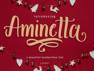 Aminetta branding handwritten typography product design celebration christmas winter holiday typeface script display font creator font
