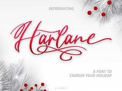 Harlane design christmas holiday winter font design branding script font family typography handwritten typeface font