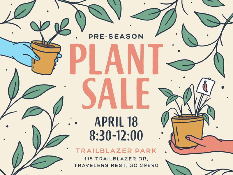 Plant Sale typography handmade type lettering handlettering market farmers market farmers flower pot hands hand illustration plant illustration poster sale plant