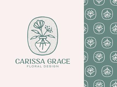 Carissa Grace Floral Design texture handmade typography lockup mark illustration plant wordmark logotype pattern flowers flower floral branding brand design logo