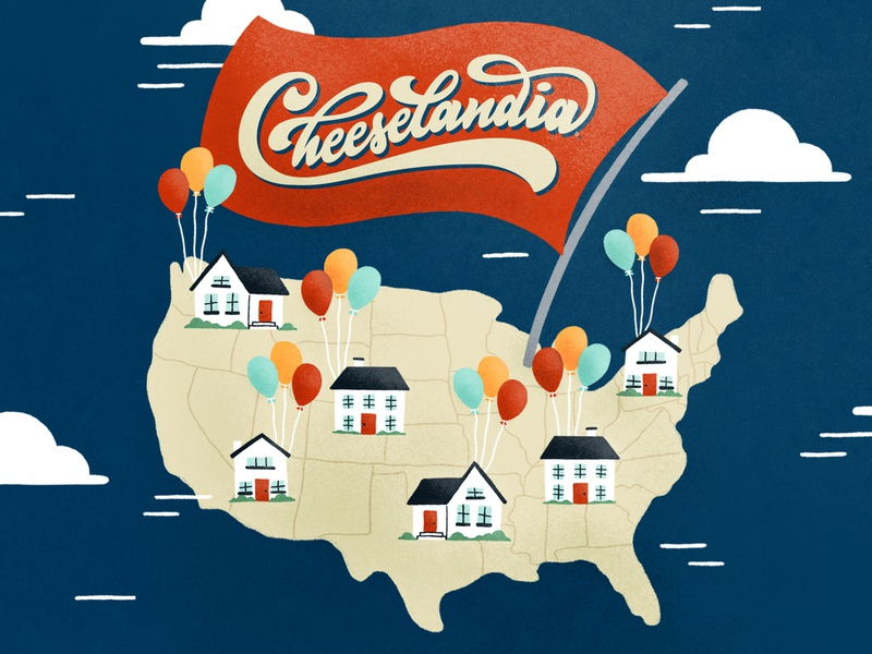 Virtual Cheese Parties illustration food balloon icon house home america us usa map virtual party cheese