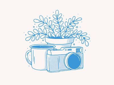 Still Life texture handmade halftone pot leaf still life illustration plant illustration coffee plant camera