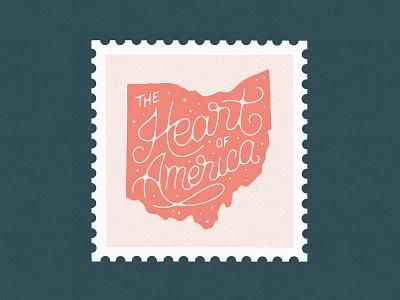 Ohio Postage Stamp script handmade typography type lettering stamp design texture illustration heart ohio postage stamp stamp