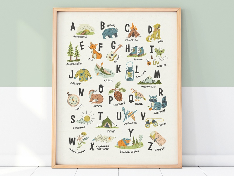 Adventure Alphabet Print texture handmade type lettering illustration illustrated nursery baby cute animals letters abc print poster alphabet adventure