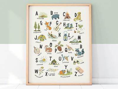 Adventure Alphabet Print texture handmade type lettering illustration illustrated nursery baby cute animals letters abc print poster alphabet adventure