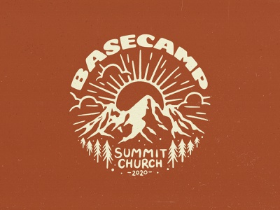Basecamp Shirt Design font texture handmade typography type lettering illustration trees sun mountain apparel merch design shirt basecamp