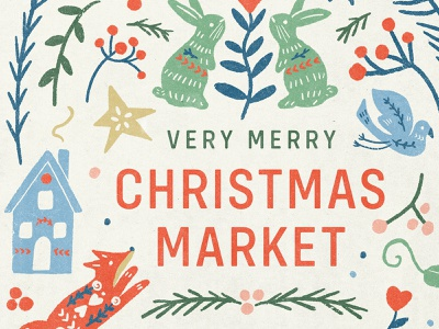 Christmas Things star christmas tree fox bird bunny animal texture handmade lettering illustration poster market holiday christmas