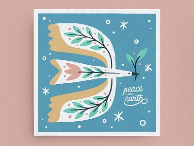 Peace on Earth texture illustration bird illustration abstract peace on earth peace animal holiday dove plant leaf bird christmas