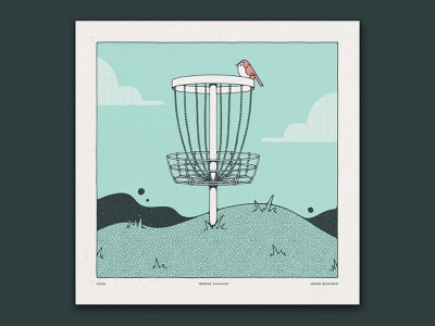 Birdie Chance texture handmade illustration print bird frisbee disc chance birdie disc golf