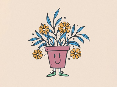 Plant Guy design texture handmade illustration plant illustration mascot character plant