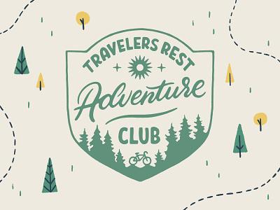 Travelers Rest Adventure Club patch badge design texture typography handmade lettering illustration south carolina bike explore club adventure branding brand mark logo